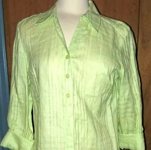 Jm Collection 10 100% Linen Tab Roll Sleeve Blouse